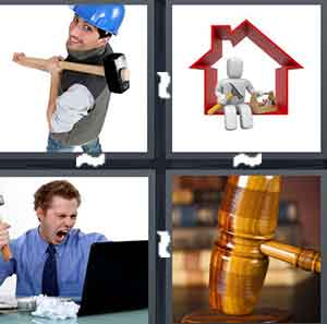 A construction holding an object, A cartoon red house with a figure sitting on it, A person screaming at his computer, and A Judge's utensil