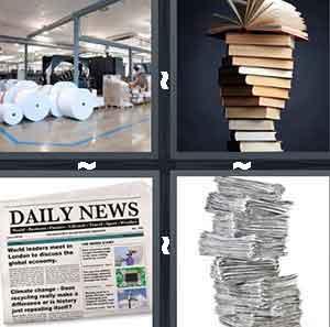 Publishing warehouse, Stack of books, Newspaper, and Stack of newspapers