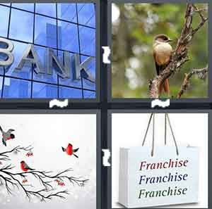 A bank, A bird on a tree, A drawing of birds on a tree, and A bag with Franchise written three times on it