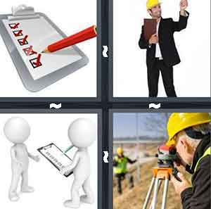A cartoon drawing of a clipboard with red checkmarks, A man with a yellow hat on holding a clipboard, Two figures talking and one is holding a clipboard, and A construction worker looking through an eyeglass