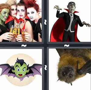 girls dressed as vampires, Dracula, cartoon bat, and bat