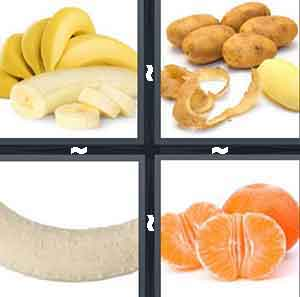 A bunch of bananas with opened and sliced, A bunch of potatos and one with no skin on it, A banana with no skin on it, and An orange with no skin on it