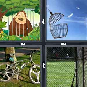 A cartoon animal behind bars, A cage opened with feathers outside of it, A bike, and Batting cages