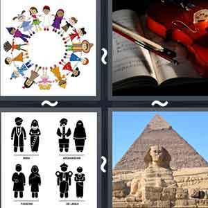 People holding hands forming a circle, Book and a pen, 4 couples in different attires, and Pyramid and an Egyptian statue
