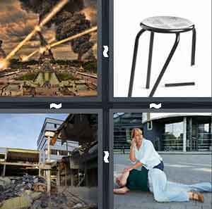 Beams of fire and gas destroying Paris, Broken stool chair, Destroyed building, and Woman collapsed on the ground