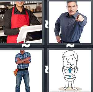 A person wearing a red apron, A person pointing his finger, A person with a tool belt on and he's crossing his arms, and A cartoon person with his finger by his mouth
