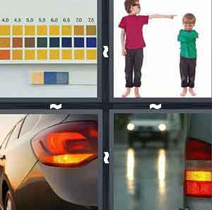 Color meter with squares and boxes of different colors, Person in pink pointing, Car light indicators, and Back lights and head lights of cars