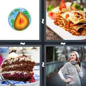 A cartoon globe cut in a corner, A white dish with food on it, A slice of chocolate cake, and A woman in a grey sweatshirt