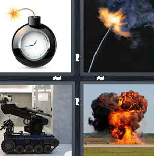 A black ticking time bomb, A fire cracker, A military machine gun vehicle, and A bomb in flames