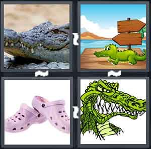 A crocodile, Cartoon crocodile, A pair of pink shoes, and A drawing of a crocodile