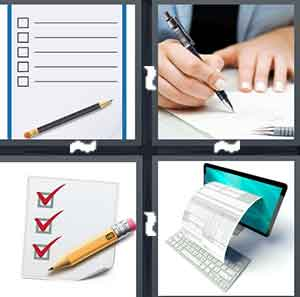 A checklist, A person writing with a pen, A checklist with red checkmarks, and A computer with a piece of paper coming out of it