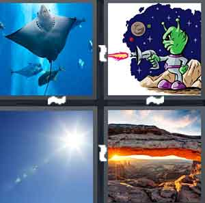 An ocean with fish and other animals in it, A cartoon alien, The Sun, and Rocks and a pond exposing the sun setting
