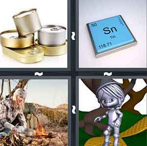 A bunch of gold and silver cans, A chemical symbol, A person building a campfire, and A cartoon figure all in silver