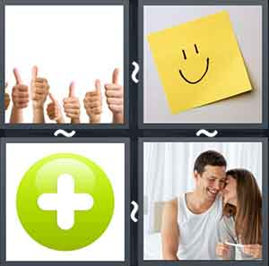 Many hands giving the thumbs up sign, A yellow paper with a smiley face drawn on it, A circle with a plus symbol in the middle, and A women cuddling with a man