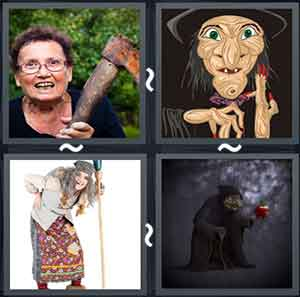 Women holding an axe, Cartoon witch, Gray haired old lady holding a stick, and A cloaked old women holding a walking stick