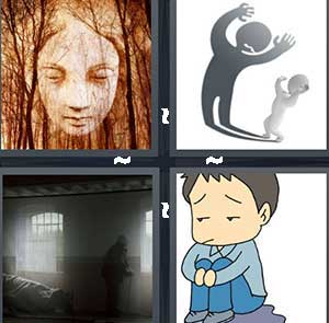 A face in the trees, A shadow on the wall, A dark shadow in a room, and A cartoon boy looking sad