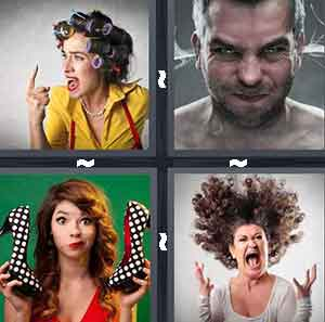 Woman with curlers in hair, Man with ears steaming, Girl holding polka dot shoes, and Woman screaming with crazy hair
