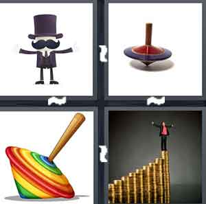 A cartoon figure with a black top hat on, A metal spinner, A colorful spinner, and A person standing on the top of a bar graph