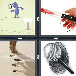 A cartoon figure searching for something, A person holding a knife with blood on it, A person leaving foot print marks, and A finger print with a magnify glass over it