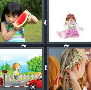 A person holding a watermelon, A doll wearing a pink dress, A cartoon figure running, and A person getting their hair done