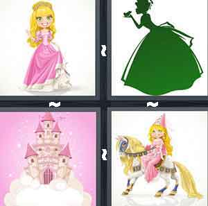 A cartoon girl in a pink dress, A green figure in a dress holding something out on their hand and leaning forward to it, A Pink castle on white clouds, and A cartoon figure on a horse with a pink dress on