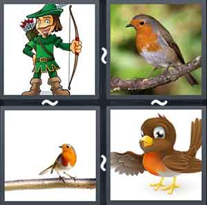A man holding a crossbow, A robin sitting on a branch, Robin sitting on a bark, and A cartoon bird