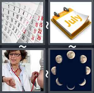 "Calendar, Paper with ""July"" written, Doctor checking time on watch, and Different shapes of the moon"