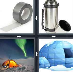 Silver tape, A silver thermos, A tent in the snow with a green light in the sky, and A cartoon drawing of an igloo