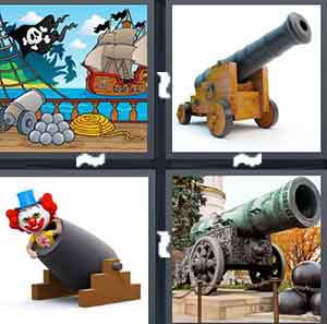 A cartoon drawing of a Pirate ship, A big shooting device, A clown inside a shooting device, and An old shooting device