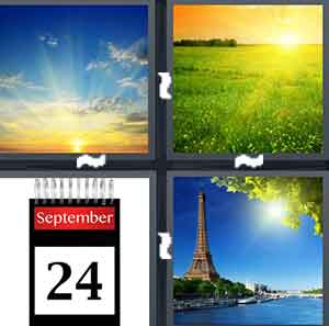 A sun rising, A sun rising  on green grass, A calendar with the number 24, and A sun rising near the Eiffel Tower