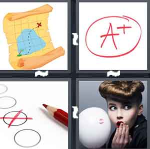 A cartoon treasure map, An A+, A red X on a circle, and A person made a spot on a white item