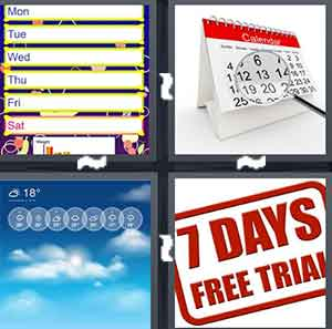 "A calendar with the days written out, A calendar with a magnify glass, A cloud with days above it, and A sign that reads ""7 days free trial"""