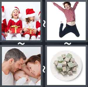 Children sitting happily in Santa clothes, A man jumping in the air ecstatically, A couple cuddling with a baby, and A plate of dessert