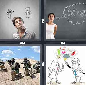 Man deciding between devil and angel, Girl thinking on blackboard, Army military, and Cartoon arguing