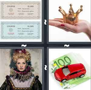 4 pics 1 word 7 letters queen coupon