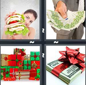 A large stacked sandwich, A wad of cash, Green and red Christmas presents, and A stack of cash with a red bow