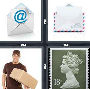 An envelope with an @ inside of it, An envelope that is opened, A man is a brown outfit holding a package, and A stamp