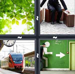 Green leaves from three, Person with suitcases, Train, and Green wall with arrow pointing to door