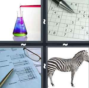 A chemical glass with different liquids inside of it, A gird with different numbers inside of the boxes, A blue paper with numbers on it a pair of glasses and gold pen, and A Zebra