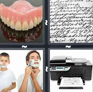 teeth mold, cursive writing, 2 men shaving, and copy machine