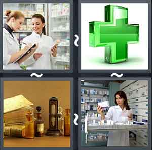 Two doctors talking, Green plus sign, Books and medicines on a table, and Doctor checking medicines