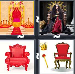 A cartoon drawing of a red chair, A person with a crown sitting on a chair, A big red chair, and A red chair with a crown and stick next to it