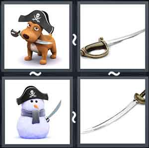 Dog holding a knife in its mouth, A pointed sword with a handle, A snowman holding a sword and wearing a hat, and A sword