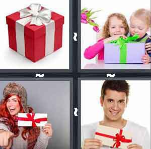 red gift box, children opening gift, woman holding gift, and man holding gift