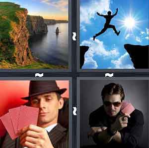 Cliffs on water, Poker player, Person jumping between cliffs, and Card dealer