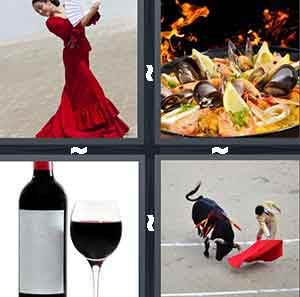 A woman in a red dress, A plate with black and green food on it and fire flames in the background, A bottle of wine with a glass of red wine next to it, and A person with a red cape playing with a bull