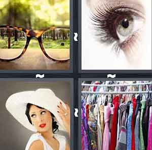 glasses, eye, woman in white hat, and clothesline