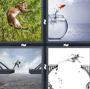 A cat jumping in the air, A fish jumping out of its bowl, A person jumping from one bridge to another, and A cartoon person jumping from bridge-to-bridge