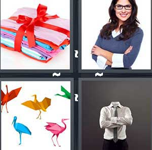 A stack of clothes in red ribbon, A girl with glasses and her arms crossed, Colored oragami birds, and A headless man