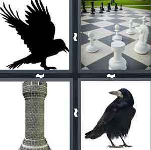 A cartoon picture of a black crow, A chess board, A Tower to a castle, and A black crow